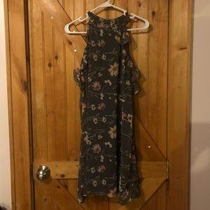 Grey floral halter dress - size M